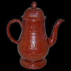 Large Engine-Turned Redware Coffee Pot, c. 1780-1800