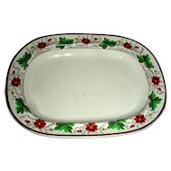 Small English Creamware Tureen or Teapot Tray w/ Floral Border, Marked Spode