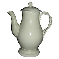 "Small (6 ½"") English Creamware Coffee Pot, c. 1780 w/ Strap Handle"