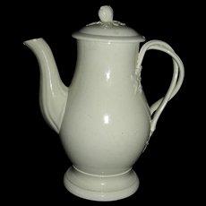 "Small (6 ½"") English Creamware Coffee Pot, c. 1780 w/ Strap Handle"