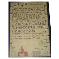 American Needlework Sampler by Hannah Potts, Peru, 1833 w/ 2 Buildings & American Flag