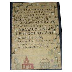American Needlework Sampler by Hannah Potts, Peru, 1833 w/ 2 Buildings & American Flag