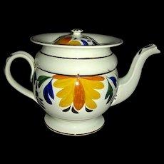 Pratt Decorated English Pearlware Teapot w/ Recessed Lid, c. 1820
