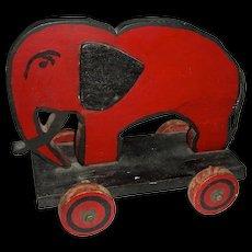 Wooden Elephant Pull Toy w/ Applied Ears & a Scowl, 1950s