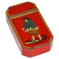 RED Toleware (Tin) Decorated Snuff Box, c. 1840