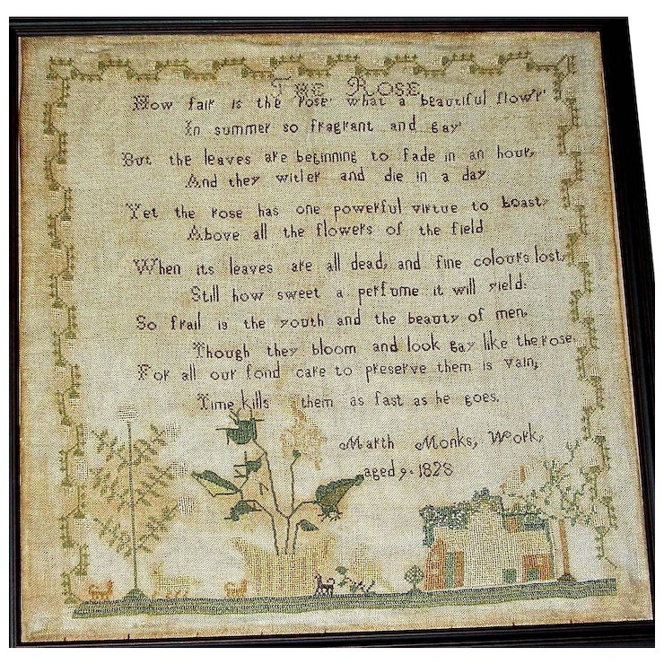 1828 Needlework Motto/Poem Sampler by Marth(a) Monks : West Pelham ...