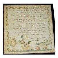 1828 Needlework Motto/Poem Sampler by Marth(a) Monks
