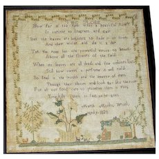 1828 Needlework Motto/Poem Sampler by Marth(a) Monks