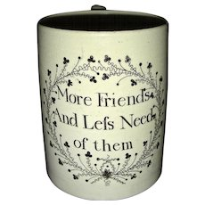 English Creamware Motto Mug, c. 1800-1810