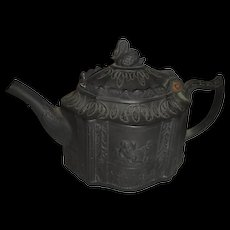 Black Basalt English Teapot w/ Molded Classical Decoration & Swan Finial, c. 1780