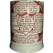 "c. 1800 English Creamware Mug w/ Red Transfer Pub-related Mottos: ""Landlords Caution to His Customers"""