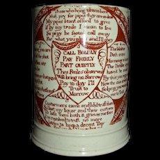 "c. 1800 English Creamware Mug w/ Red Transfer Pub-related Mottos: ""Landlords Caution to His Customers"""