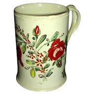 Delicate English Creamware Mug w/ Underglaze Flower Decoration, c. 1790