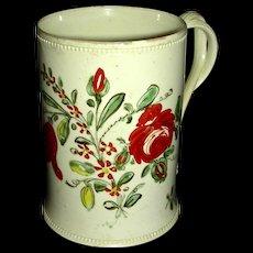 Delicate English Creamware Mug w/ Underglaze Flower Decoration, c. 1790