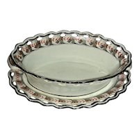 "c. 1800 Spode Creamware Basket & Tray: ""Feather & Ribbon"" Pattern"