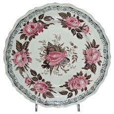"Bi-Color Staffordshire ""Moss Rose"" Plate, Jackson Warranted"