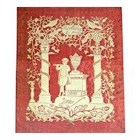 Unusual Cut Paper Scherenschnitte, Signed & Dated 1853 w/Gilt Highlights