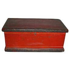 Miniature Red Painted Document Box, Dovetailed, Original Surface, c. 1850