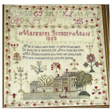 Margaret Gregory's Needlework Sampler, Portsmouth NH, 1850 Strawbery Banke