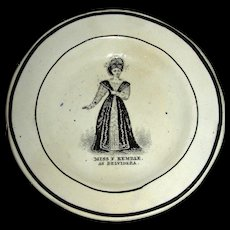 Small Fanny Kemble Actress Plate w/ Abolitionist Connections, c. 1830
