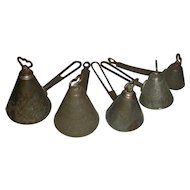 5 Graduated Conical Shaped TIN Ice Cream Scoops, Early 20th Century
