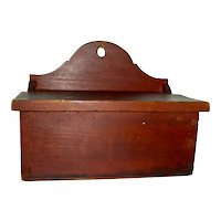 Dovetailed Lift-Lid Wall Box w/ Divided Interior in Original Dry Red Painted Surface