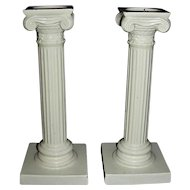 Pair of English Creamware Ionic Column Candlesticks, c. 1875