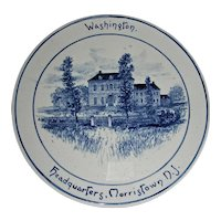 Volkmar Pottery Historical Plaque: Washington's Headquarters, Morristown, NJ, c. 1900