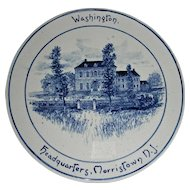 Volkmar Pottery Historical Plaque: Washington's Headquarters, Morristown, NJ, c. 1900