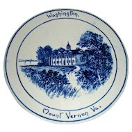 Volkmar Pottery Historical Plaque: Washington's Home at Mt. Vernon, Virginia, c. 1900