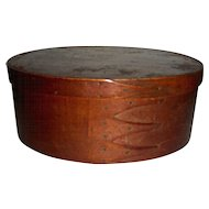 """10 1/8"""" Oval 4-Finger Shaker Box in Original Red Surface"""