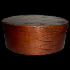 "10 1/8"" Oval 4-Finger Shaker Box in Original Red Surface"