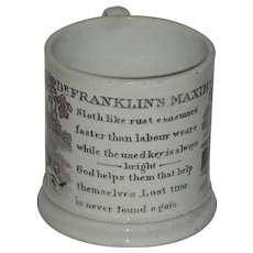 Staffordshire Child's Mug: Dr. Franklin's Maxims Series, c. 1840