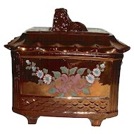 Unusual English Copper Lustre Tea Canister w/ Lion Finial, c. 1830