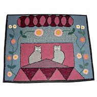Hooked Rug with 2 Cats on a Roof