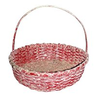 "9 ½"" Diameter Round Splint Handled Basket in Original Red Paint"