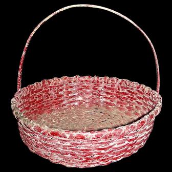 "9 ½"" Diameter Round Splint Handled Basket in Original Red Paint"