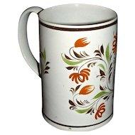 English Pearlware Mug Decorated in Pratt Colors, c. 1820