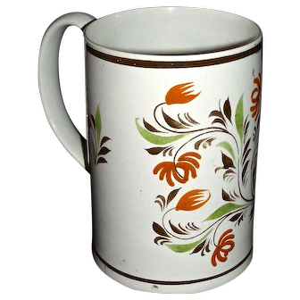 English Pearlware Mug Decorated in Pratt Colors, c. 1820