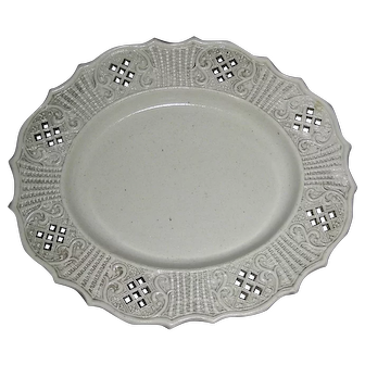 Small English Salt Glazed Tray w/ Molded & Pierced Border, c. 1760