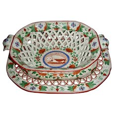 "Colorful Staffordshire Basket & Tray in the ""Crazy Cow"" Pattern, c. 1805"