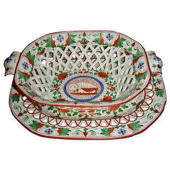 """Colorful Staffordshire Basket & Tray in the """"Crazy Cow"""" Pattern, c. 1805"""