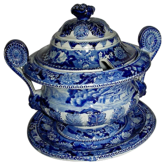 Small Blue Staffordshire Round Tureen & Tray, Bluebell Border Series, c. 1830
