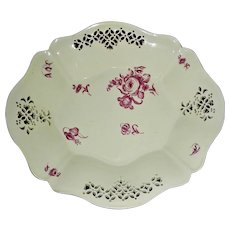 Pierced Edge English Creamware Bowl w/ Puce Colored Flower Decoration, c. 1800
