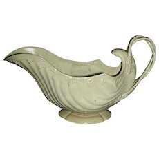 Creamware Gravy Boat w/ Strap Handle and Molded Sides, c. 1800-1810