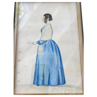 Watercolor Drawing of Handsome Young Woman w/ Curls, c. 1840