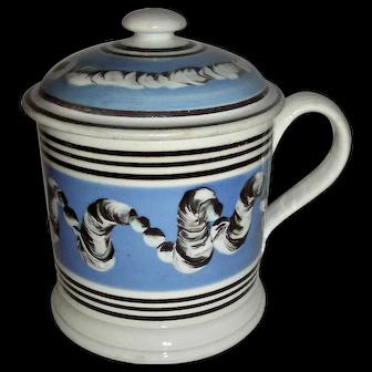 Rare Earthworm Decorated Mocha Ware Porter Mug w/ Original Lid