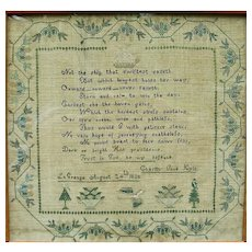 Hudson Valley Needlework Sampler by Charity Jane Kyle, La Grange, NY, 1838