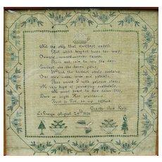 Hudson Valley Needlework Sampler by Charity Jane Kyle, La Grange, NY, 1838