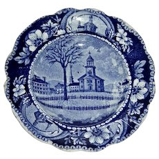 """4 ½"""" Winter View of Pittsfield Massachusetts (Pittsfield Elm"""") Cup Plate"""